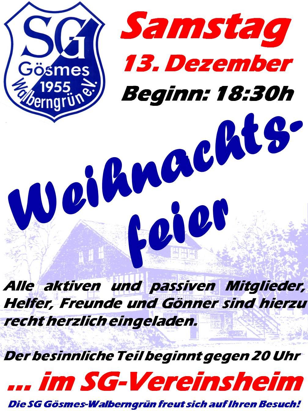 Weihnachtsfeier Plakat.Plakat Weihnachtsfeier 2014 Sg Gösmes Walberngrün